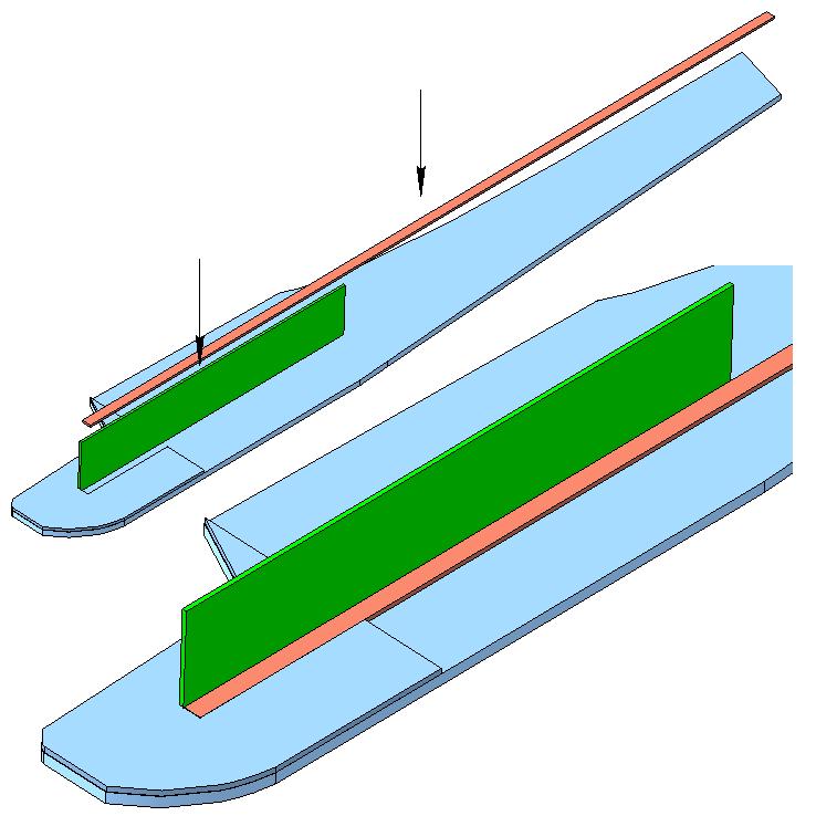 1. Приклеить продольное усиление (склеить из линейки - ширина 6...8 мм). Установить пол