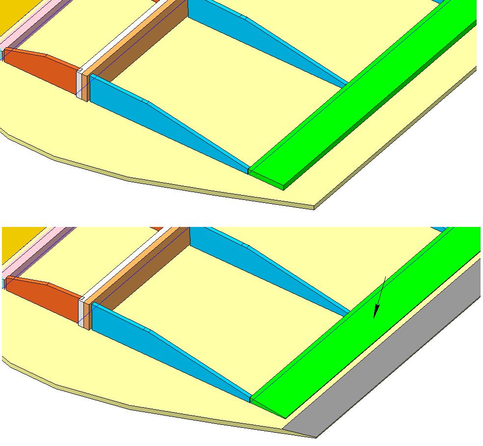 1. Шкуркой убрать материал с задней части крыла по плоскости