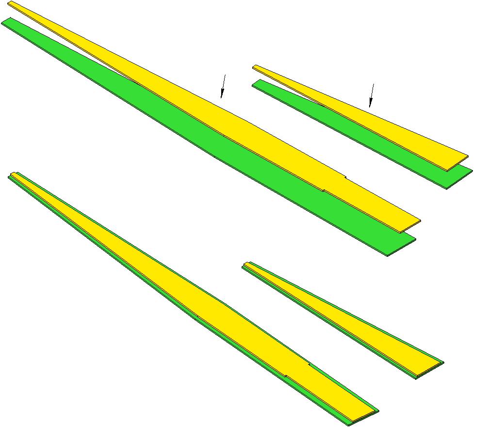 1. Склеить из 2-х частей верхнюю и нижнюю обшивки фюзеляжа