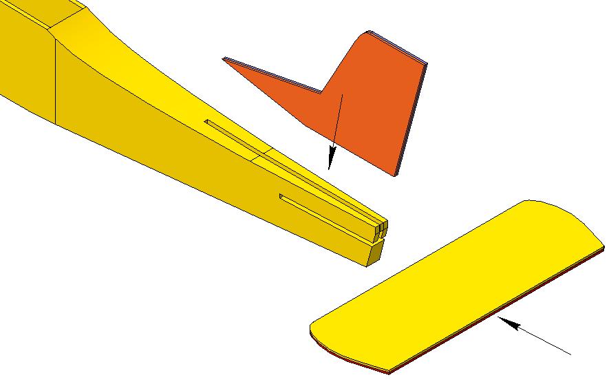 1. Установить киль и стабилизатор на термоклей
