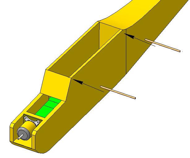 3. Установить элементы для крепления крыла резинками (бамбуковая палочка)