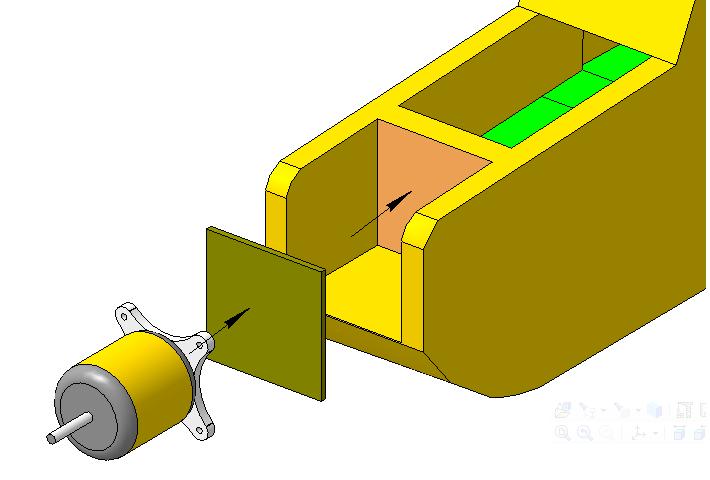2. Установить мотораму в сборе с двигателем на эпоксидный клей